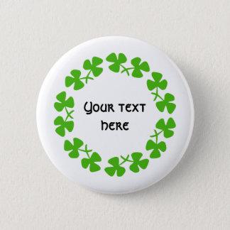 Green Shamrocks Border Add Text 2 Inch Round Button
