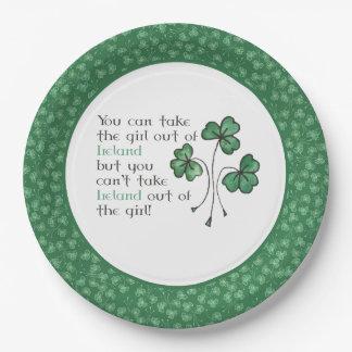 Green Shamrocks Irish Girl Quote Paper Plate 9 Inch Paper Plate