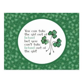 Green Shamrocks Irish Girl Quote Postcard