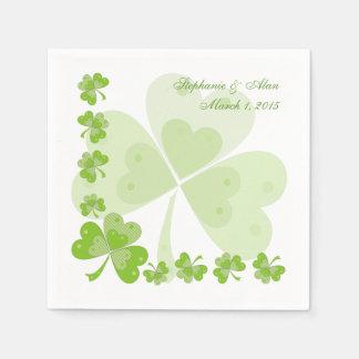 Green Shamrocks Irish Wedding Paper Napkins