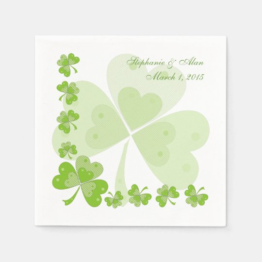 Green Shamrocks Irish Wedding Paper Napkins
