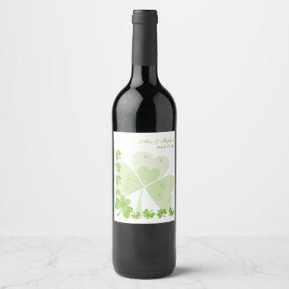 Green Shamrocks Irish Wedding Wine Label