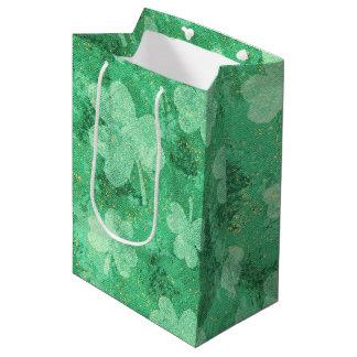 Green Shamrocks on Green Medium Gift Bag