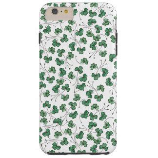 Green Shamrocks Pattern, White iPhone 6 Plus Case