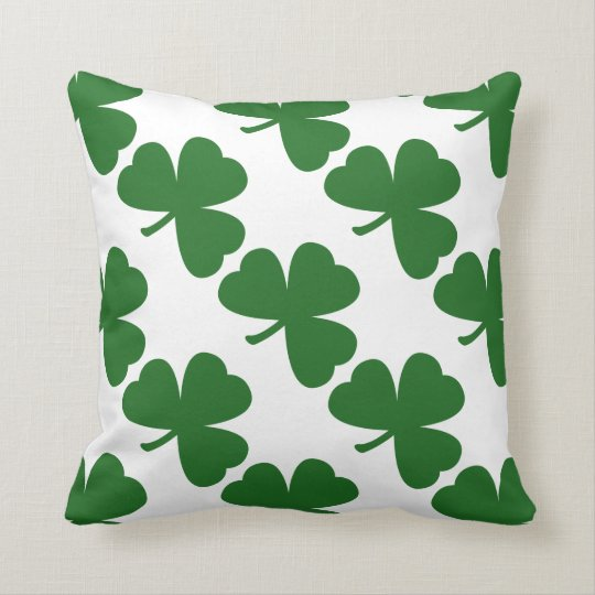 Green Shamrocks St. Patrick's Day Throw Pillow