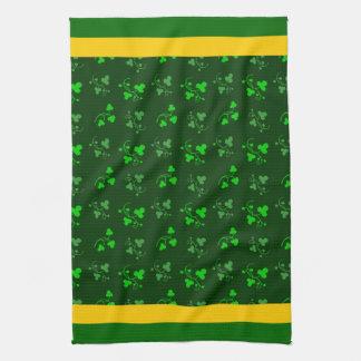 Green Shamrocks Yellow Stripe Kitchen Towel