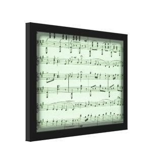 Green Sheet Music Canvas Print