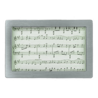 Green Sheet Music Rectangular Belt Buckles