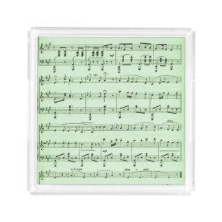 Green Sheet Music Serving Tray
