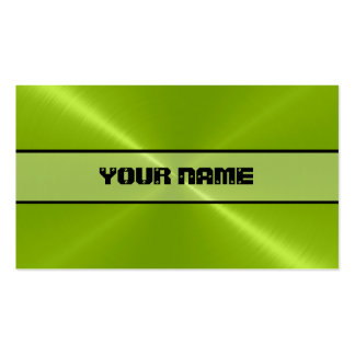 Green Shiny Stainless Steel Metal Business Card Template