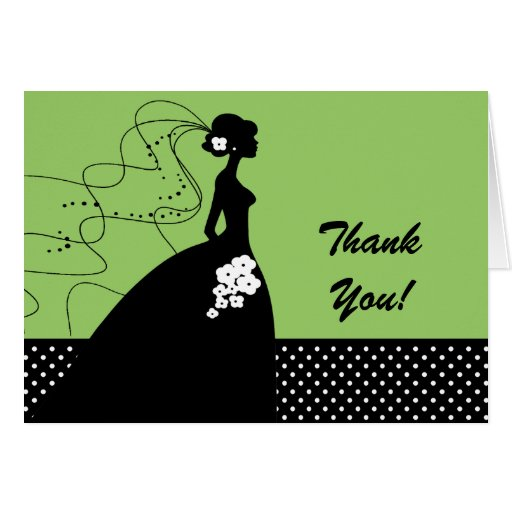 Green Silhouette Bride Thank You Note Card