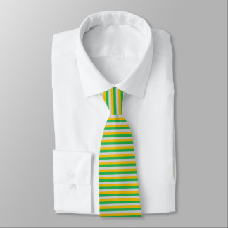 Green, Silver and Gold Stripes Tie