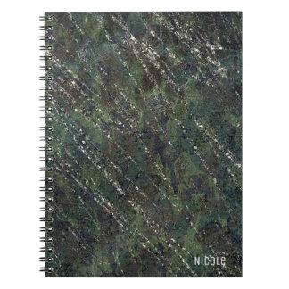 Green & Silver Army Camo Sparkle Elegant Glam Notebooks