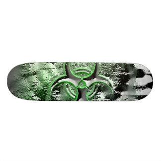 Green & silver biohazard toxic warning sign symbol skateboards