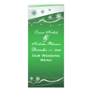 Green, silver grey snowflake wedding menu card