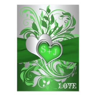 Green, Silver Scrolls, Hearts Wedding Invitation