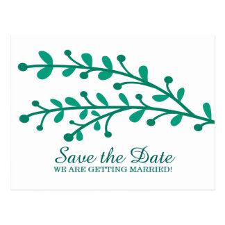 Green Simple Foliage Save the Date Postcard