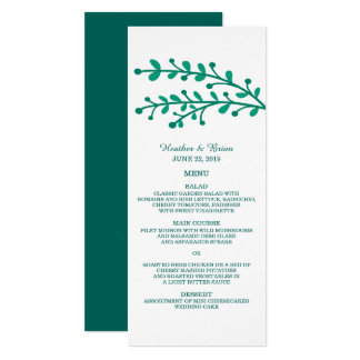 """Green Simple Foliage Wedding Menu 4"""" X 9.25"""" Invitation Card"""