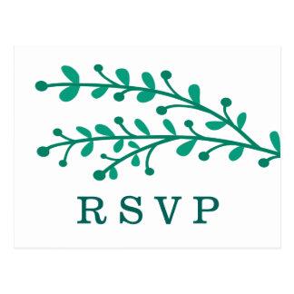Green Simple Foliage Wedding RSVP Postcard