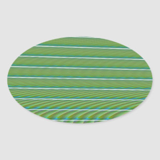 Green Simple Fractal Lines with Ripples Oval Sticker