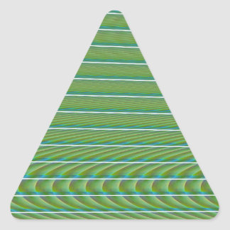 Green Simple Fractal Lines with Ripples Triangle Sticker