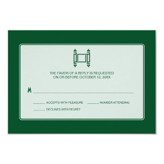 Green Simple Torah Bar Mitzvah RSVP Card