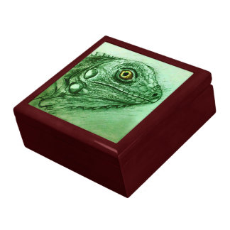 Green sketch tile gift box - Iguana