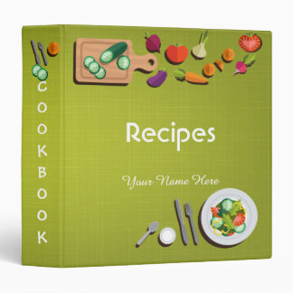 Green sketchy utensils recipe binder book