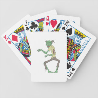 Green Skin Creepy Zombie With Rotting Flesh Bicycle Playing Cards