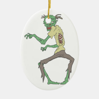 Green Skin Creepy Zombie With Rotting Flesh Ceramic Ornament