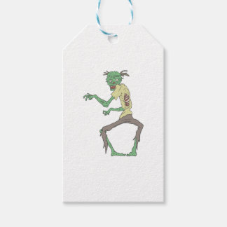 Green Skin Creepy Zombie With Rotting Flesh Gift Tags