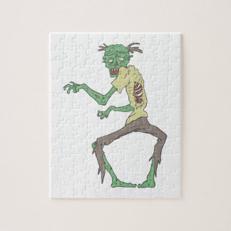 Green Skin Creepy Zombie With Rotting Flesh Jigsaw Puzzle