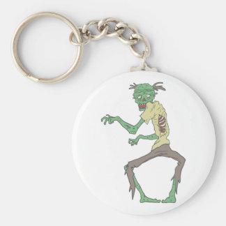 Green Skin Creepy Zombie With Rotting Flesh Keychain