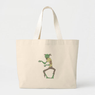 Green Skin Creepy Zombie With Rotting Flesh Large Tote Bag