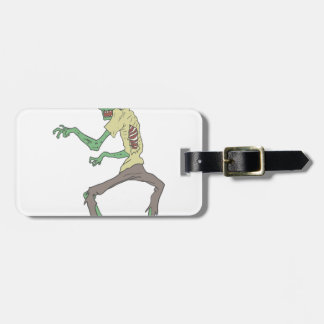 Green Skin Creepy Zombie With Rotting Flesh Luggage Tag