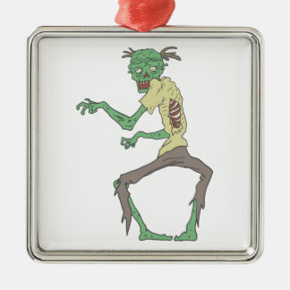 Green Skin Creepy Zombie With Rotting Flesh Metal Ornament