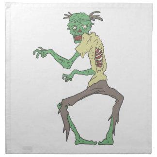 Green Skin Creepy Zombie With Rotting Flesh Napkin