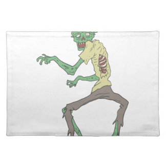 Green Skin Creepy Zombie With Rotting Flesh Placemat