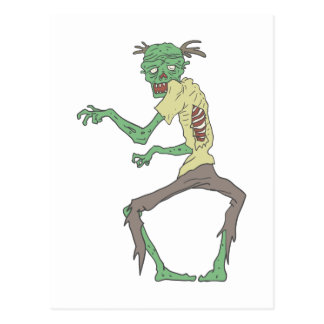 Green Skin Creepy Zombie With Rotting Flesh Postcard