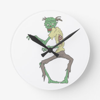 Green Skin Creepy Zombie With Rotting Flesh Round Clock