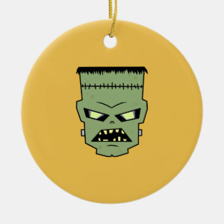 Green Skin Frankenstein Head Round Ceramic Ornament
