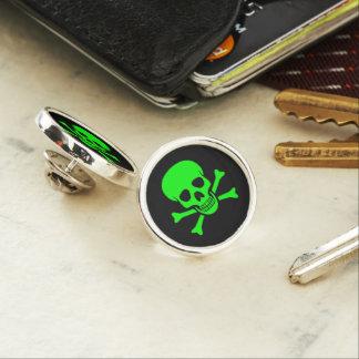 Green Skull and Crossbones Lapel Pin
