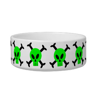 Green Skull And Crossbones Pet Bowl
