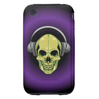 Green Skull with Headphones Tough iPhone 3 Case