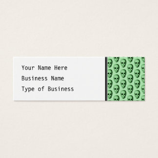 Green Skulls Pattern. Mini Business Card