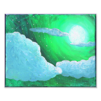 Green Sky Full Moon and Clouds Art Print