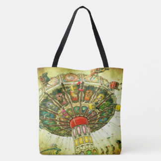 Green sky retro vintage carnival swing ride photo tote bag