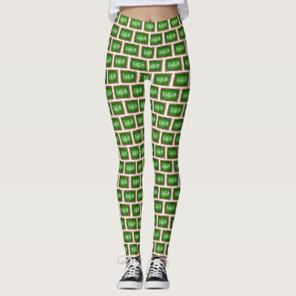 Green Slate Chalkboard Math Class Teacher School Leggings