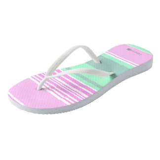 Green slipper stripes delicate rose fresh. flip flops