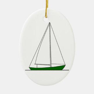 Green Sloop Sailboat Ceramic Ornament